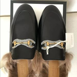 Women's Gucci Princetown Fur Lined Leather Mule